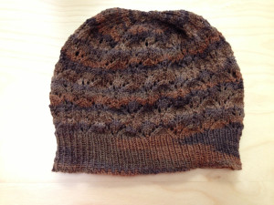 brown sock yarn hat
